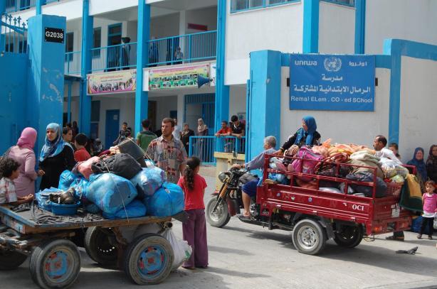 Palestinians seeking refuge at an UNRWA school in Gaza.
