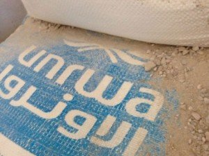 "Alleged ""UNRWA bags of cement found in Gaza terror tunnels."" via The Algemeiner, 30 July 2014."